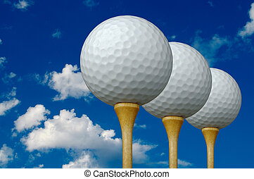 3 Golf Balls & Tees - Three Golf Balls & Tees on the left...