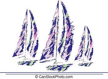 3 Grapic Sail Boats