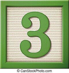 3, groene, getal, blok, 3d