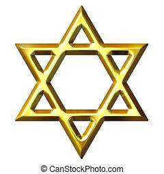 3, gyllene, david stjärna
