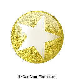 3, gyllene, stjärna, ikon