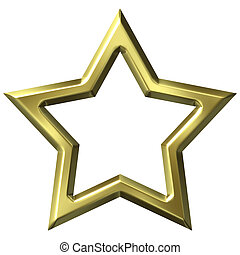 3, gyllene, stjärna inrama