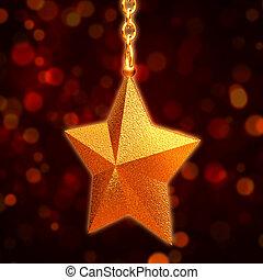 3, gyllene, stjärna, med, ker