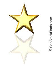 3, gyllene, stjärna, med, reflexion
