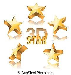 3, gyllene, stjärna satte