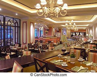 3, hôtel, luxe, restaurant