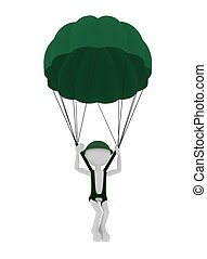 3, hadi, ejtőernyős, személy, parachuting.