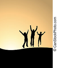 3 happy people - Vector background of 3 happy people jumping...