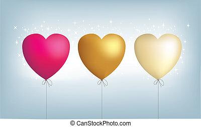 3, hart, metalen, ballons