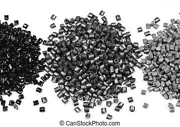 3 heaps of gray polymer - heaps of gray metallic polymer...