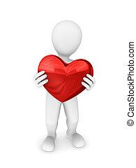 3, heart., man