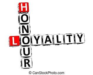 3, heder, korsord, lojalitet