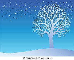 3, hiver arbre, neige