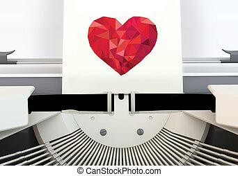 3, hjärta, låg, poly, från, skrivmaskin