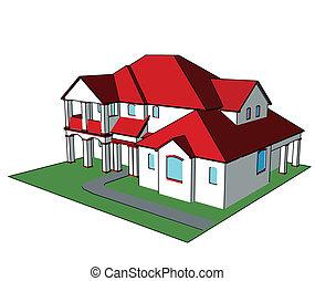 3, house., vektor, technický, budit