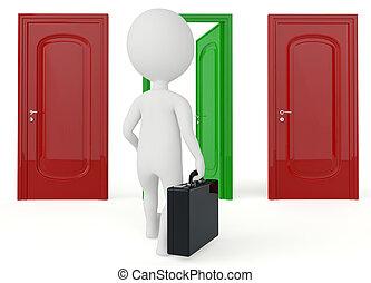 3, humanoid, betű, jár, fordíts, egy, nyitott kapu