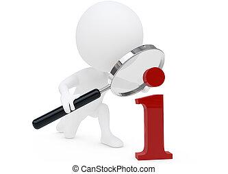 3, humanoid, betű, noha, egy, nagyítóüveg, és, egy,...