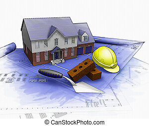 3, hus, konstruktion under, hos, partielle, watercolor, indvirkning