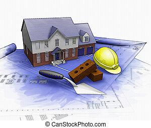 3, hus, konstruktion under, med, delvis, vattenfärg, verkan