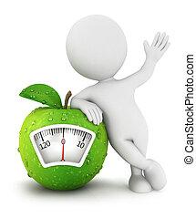 3, hvid, folk, æble, skala, begreb