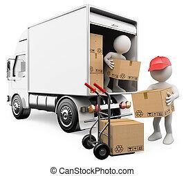 3, hvid, folk., arbejdere, losse, bokse, af, en, lastbil