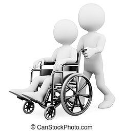 3, hvid, folk., hjælper, en, handicappede
