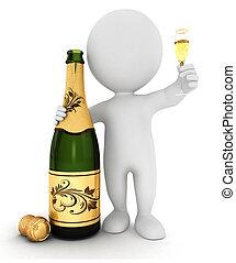 3, hvid, folk, hos, champagne