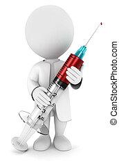 3, hvid, folk, hos, en, injektionssprøjte