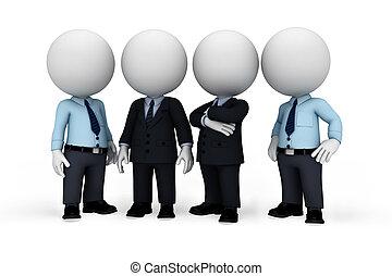 3, hvid, folk, idet, branche mand