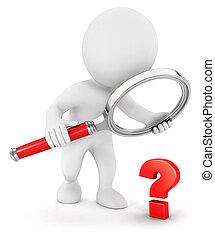 3, hvid, folk, lille, spørgsmål