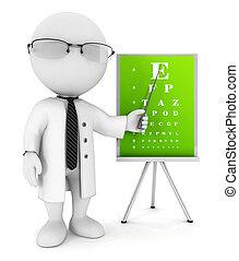 3, hvid, folk, optiker