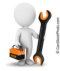 3, hvid, folk, repairer