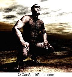 3, illustration, av, a, homo, erectus