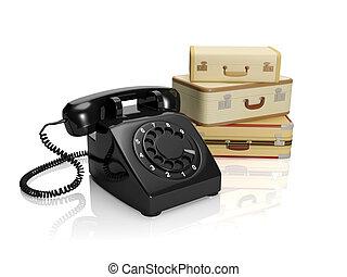 3?, illustration:, den, selskab, på, turisme, eller, fragt, transportation., en, retro, telefon, hos, bagage