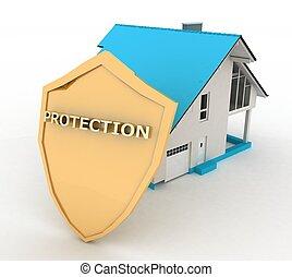 3, illustration., forsikring til hjem, beskyttelse, en, skjold, og, en, hus