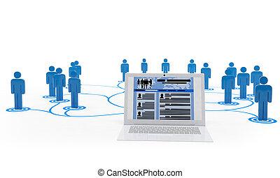 3, illustration:, jobb sök, över, internetet, den, nät,...