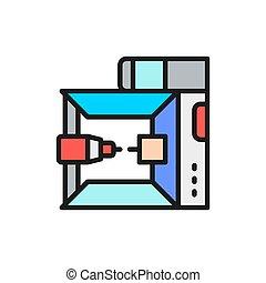 3, impresora de color, plano, modelo, dimensional, ...