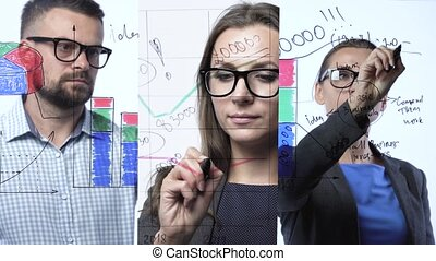 3 in 1 video. Man and woman draws various growth charts,...