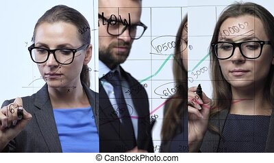 3 in 1 video. Man and woman draws various growth charts, calculating prospects for success in a modern glass office. Vertical video montage.