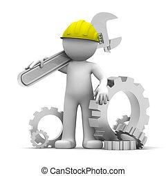 3, industriell arbetare, med, skiftnyckel, en