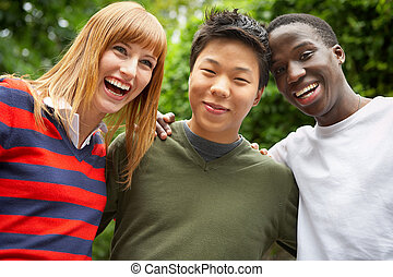 together - 3 intercultural people laughing together
