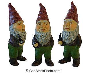 3, isolé, gnomes, jardin, blanc