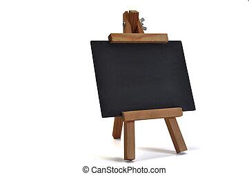 3, isolerat, blackboard, med, staffli, (for, din, text)