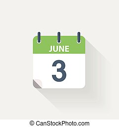 3, junio, calendario, icono