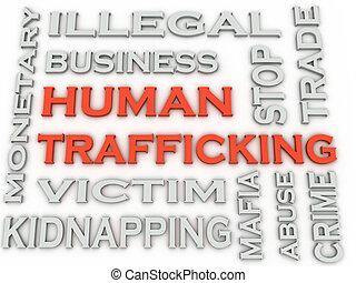 3, kép, emberi, trafficking, kilép, fogalom, szó, felhő, háttér