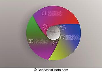 3, kör alakú, lépések, infographics