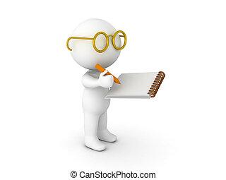 3, karakter, påklædt, idet, forsker, skrift, på, notepad