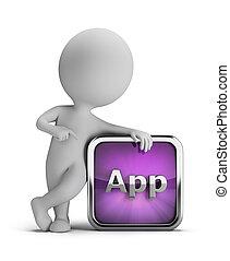 3, kicsi, emberek, -, app, ikon