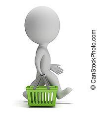 3, kicsi, emberek, -, bevásárol kosár