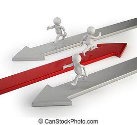 3, kicsi, emberek, -, -e, irány, fordíts, siker
